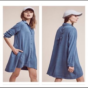 Anthropologie Cloth & Stone Laced-Back Shirtdress